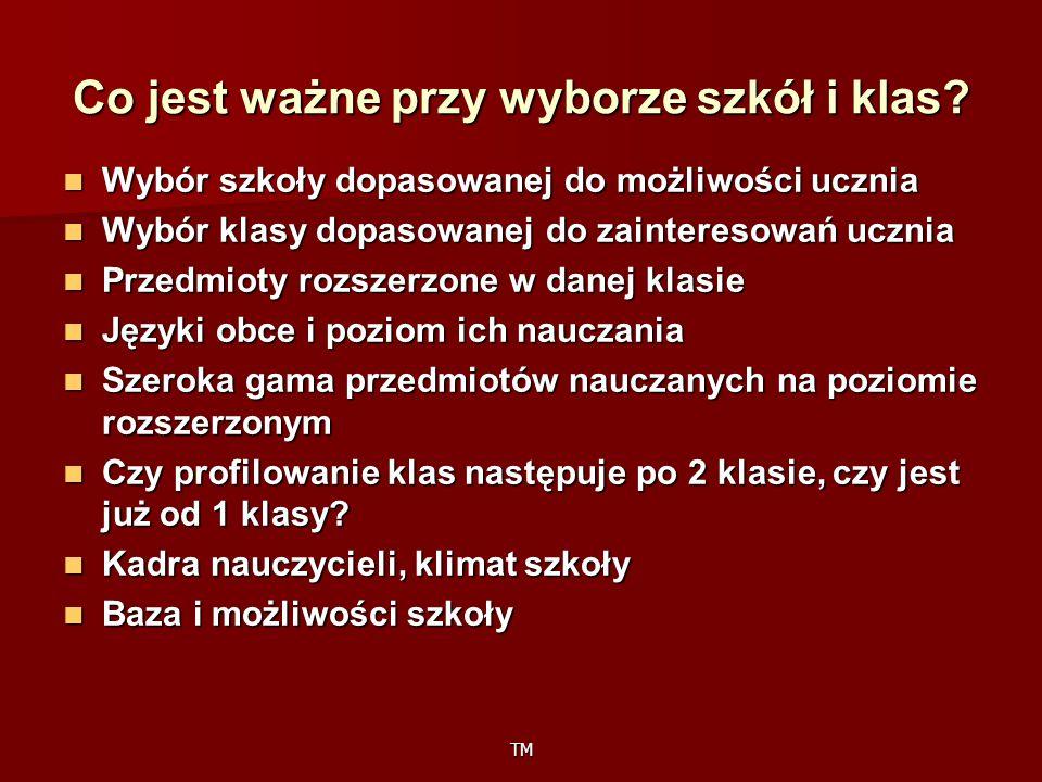 TM Nazwa klasy Przedmiot oceniany oprócz: j.polskiego, matematyki, j.