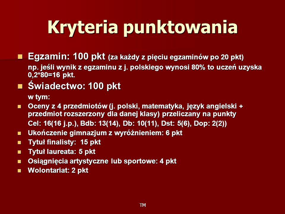 TM Egzamin: 100 pkt (za każdy z pięciu egzaminów po 20 pkt) Egzamin: 100 pkt (za każdy z pięciu egzaminów po 20 pkt) np. jeśli wynik z egzaminu z j. p