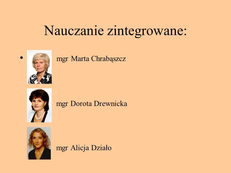 Nauczanie zintegrowane: mgr Marta Chrabąszcz mgr Dorota Drewnicka mgr Alicja Działo