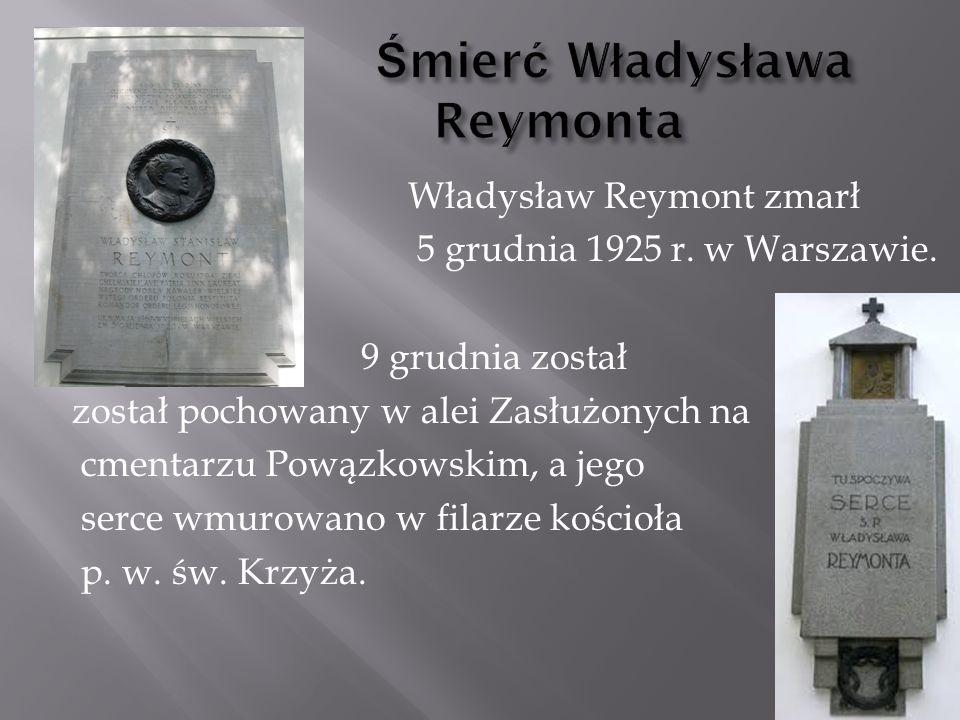 Władysław Reymont zmarł 5 grudnia 1925 r.w Warszawie.