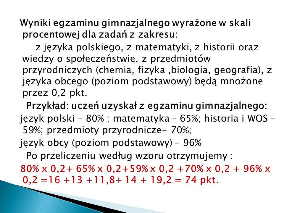 Wyniki egzaminu gimnazjalnego wyrażone w skali procentowej dla zadań z zakresu: z języka polskiego, z matematyki, z historii oraz wiedzy o społeczeństwie, z przedmiotów przyrodniczych (chemia, fizyka,biologia, geografia), z języka obcego (poziom podstawowy) będą mnożone przez 0,2 pkt.