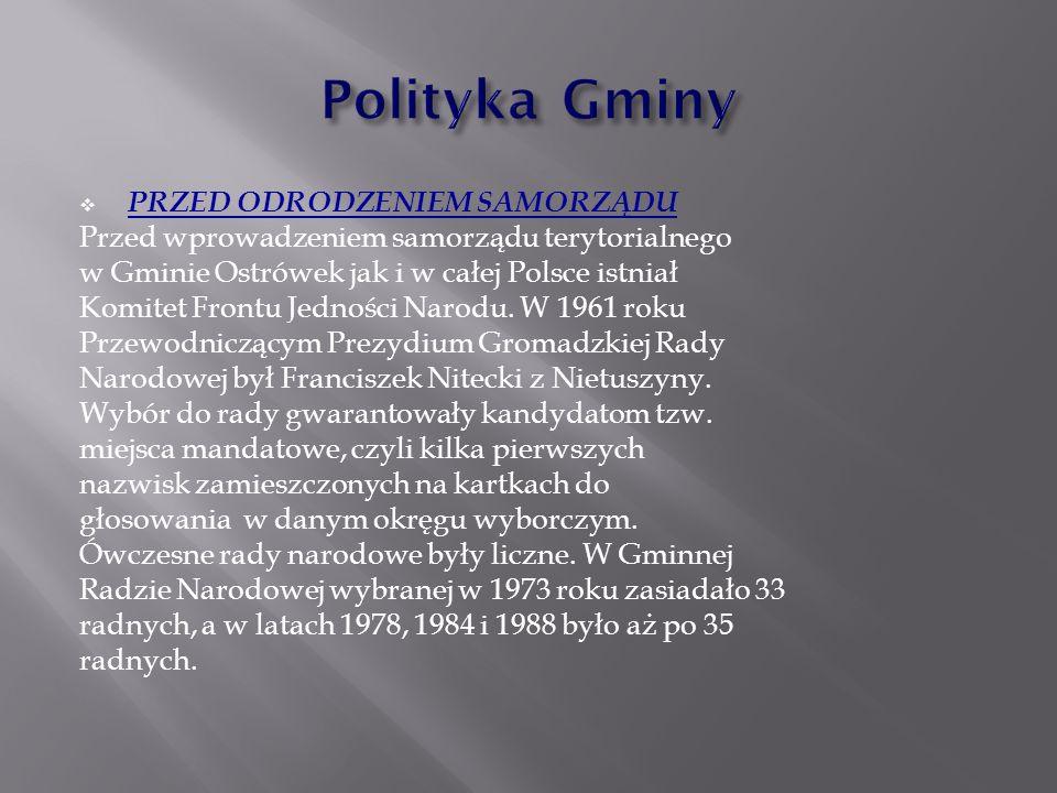  PRZED ODRODZENIEM SAMORZĄDU Przed wprowadzeniem samorządu terytorialnego w Gminie Ostrówek jak i w całej Polsce istniał Komitet Frontu Jedności Naro