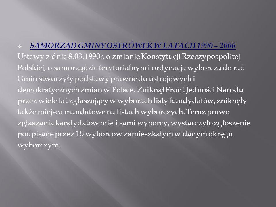  SAMORZĄD GMINY OSTRÓWEK W LATACH 1990 – 2006 Ustawy z dnia 8.03.1990r. o zmianie Konstytucji Rzeczypospolitej Polskiej, o samorządzie terytorialnym