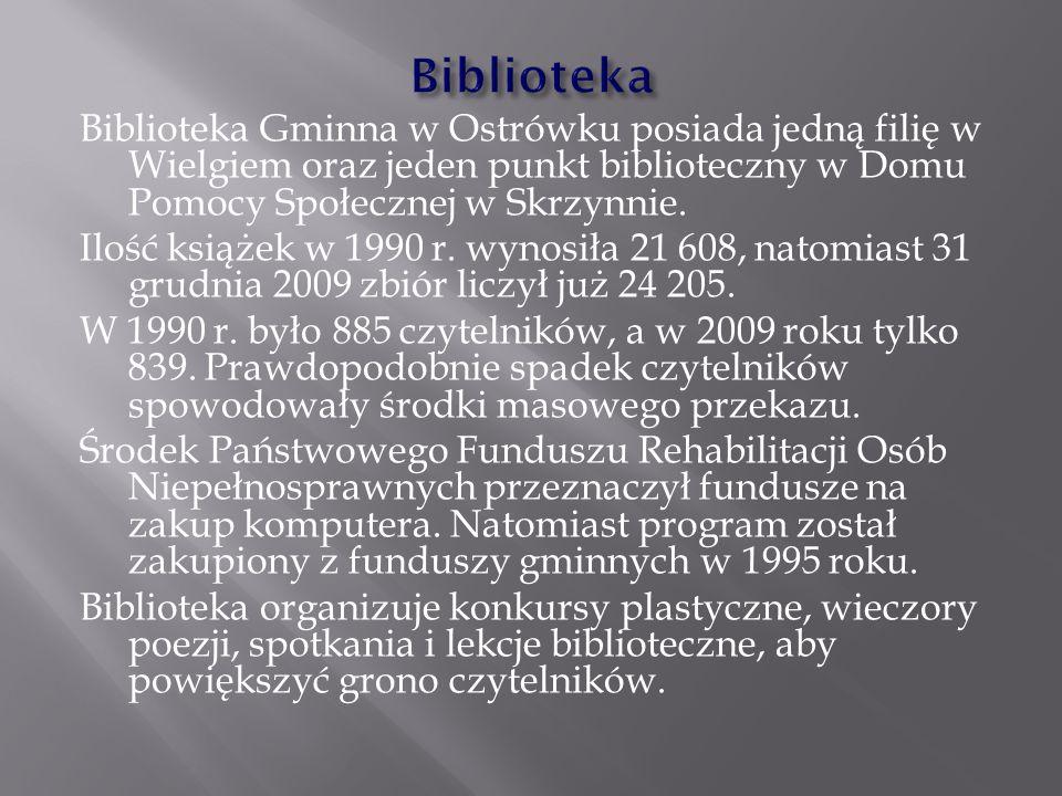 Biblioteka Gminna w Ostrówku posiada jedną filię w Wielgiem oraz jeden punkt biblioteczny w Domu Pomocy Społecznej w Skrzynnie. Ilość książek w 1990 r