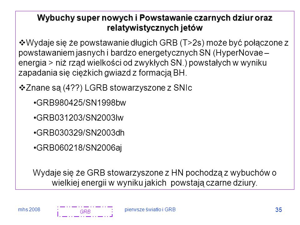 mhs 2008pierwsze światło i GRB 36 Types of supernovae, are observational classifications and do not imply a particular model of the phenomenon.