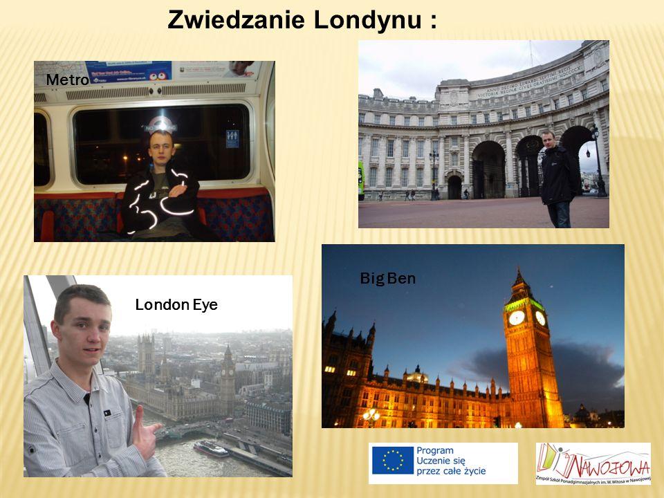 Zwiedzanie Londynu : Metro London Eye Big Ben