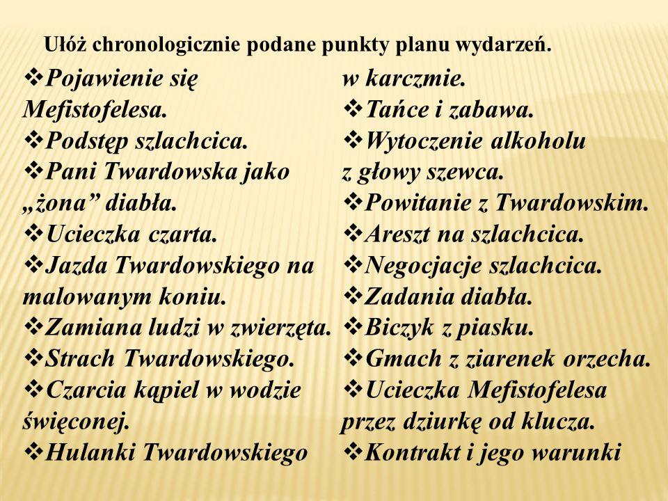 """ Pojawienie się Mefistofelesa.  Podstęp szlachcica.  Pani Twardowska jako """"żona"""" diabła.  Ucieczka czarta.  Jazda Twardowskiego na malowanym koni"""