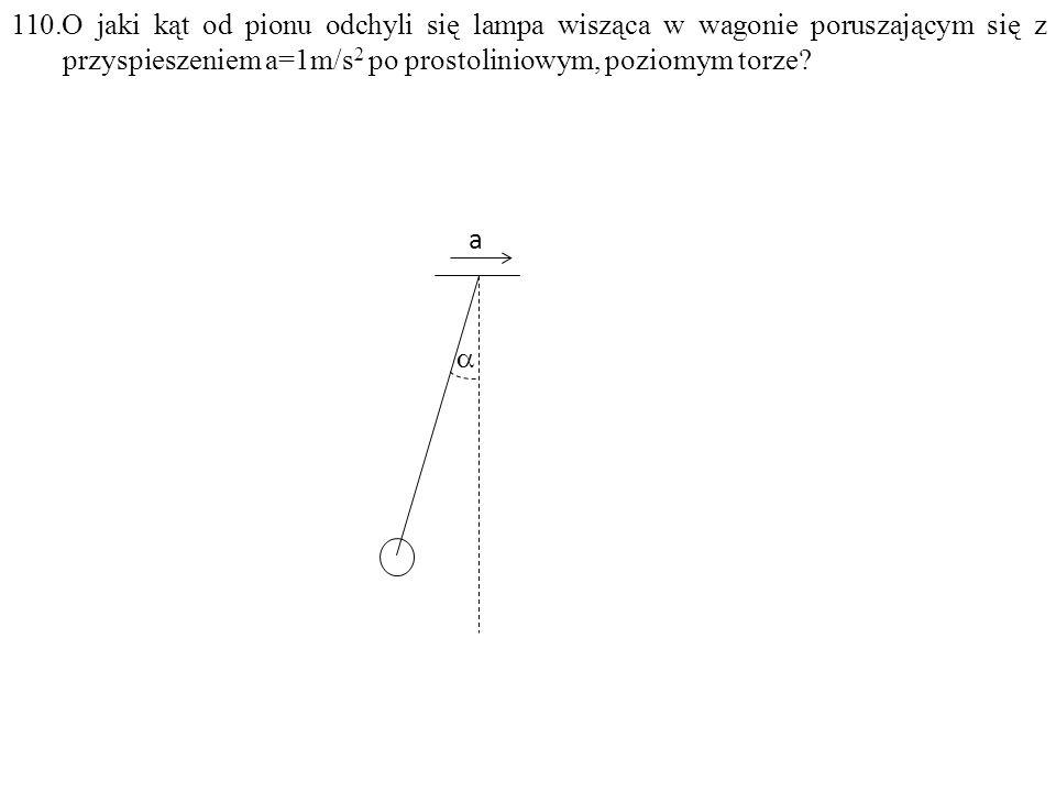 110.O jaki kąt od pionu odchyli się lampa wisząca w wagonie poruszającym się z przyspieszeniem a=1m/s 2 po prostoliniowym, poziomym torze.
