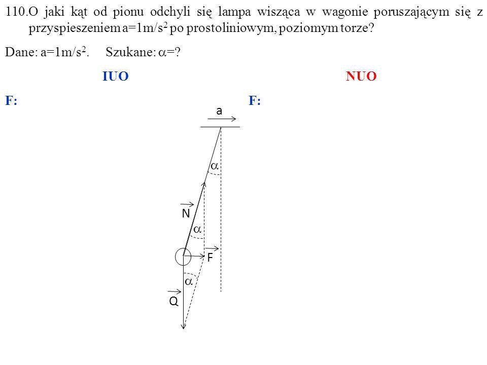 Q N F  a   110.O jaki kąt od pionu odchyli się lampa wisząca w wagonie poruszającym się z przyspieszeniem a=1m/s 2 po prostoliniowym, poziomym torz