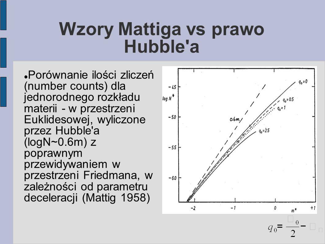Wzory Mattiga vs prawo Hubble a Porównanie ilości zliczeń (number counts) dla jednorodnego rozkładu materii - w przestrzeni Euklidesowej, wyliczone przez Hubble a (logN~0.6m) z poprawnym przewidywaniem w przestrzeni Friedmana, w zależności od parametru deceleracji (Mattig 1958)