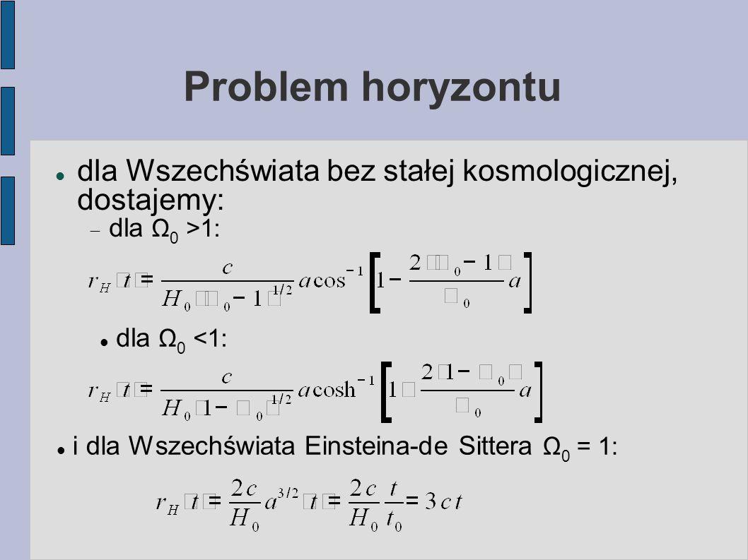 Problem horyzontu dla Wszechświata bez stałej kosmologicznej, dostajemy:  dla Ω 0 >1: dla Ω 0 <1: i dla Wszechświata Einsteina-de Sittera Ω 0 = 1: