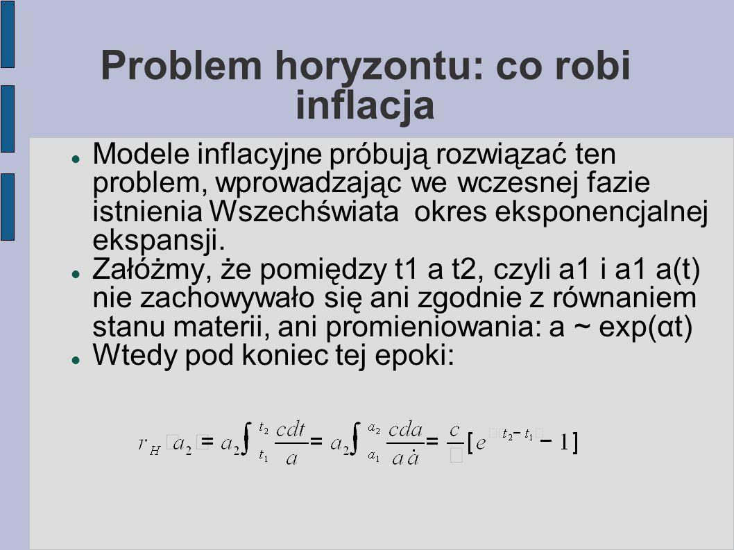 Problem horyzontu: co robi inflacja Modele inflacyjne próbują rozwiązać ten problem, wprowadzając we wczesnej fazie istnienia Wszechświata okres eksponencjalnej ekspansji.