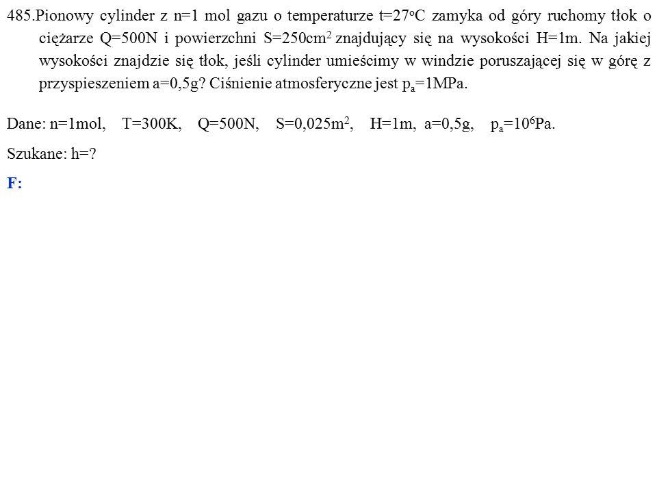 Dane: n=1mol, T=300K, Q=500N, S=0,025m 2, H=1m, a=0,5g, p a =10 6 Pa. Szukane: h= F: