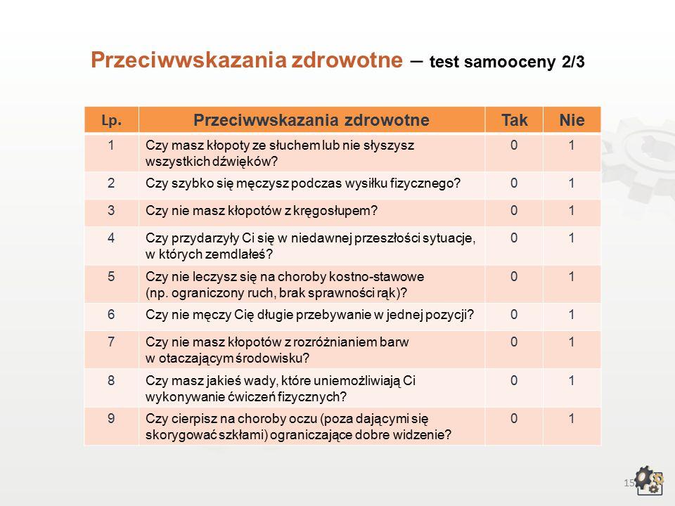 14 Przeciwwskazania zdrowotne Decydując się na podjęcie pracy w zawodzie asystenta operatora dźwięku, powinniśmy także wziąć pod uwagę przeciwwskazania zdrowotne.
