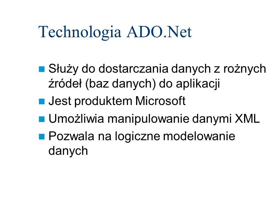 Technologia ADO.Net Służy do dostarczania danych z rożnych źródeł (baz danych) do aplikacji Jest produktem Microsoft Umożliwia manipulowanie danymi XML Pozwala na logiczne modelowanie danych