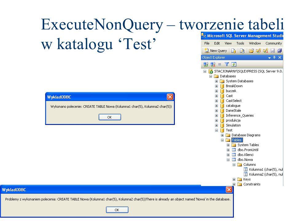 ExecuteNonQuery – tworzenie tabeli w katalogu 'Test'