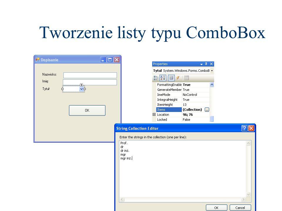 Tworzenie listy typu ComboBox