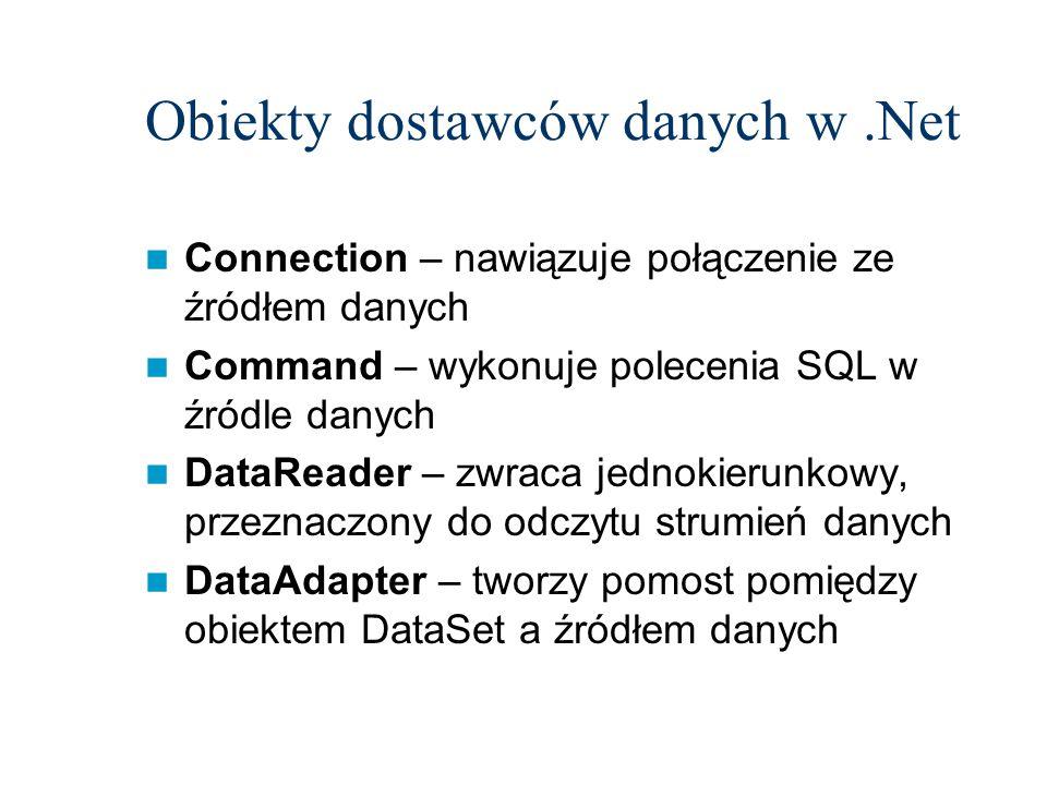 Obiekty dostawców danych w.Net Connection – nawiązuje połączenie ze źródłem danych Command – wykonuje polecenia SQL w źródle danych DataReader – zwrac