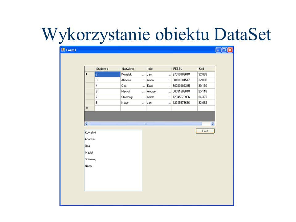 Wykorzystanie obiektu DataSet