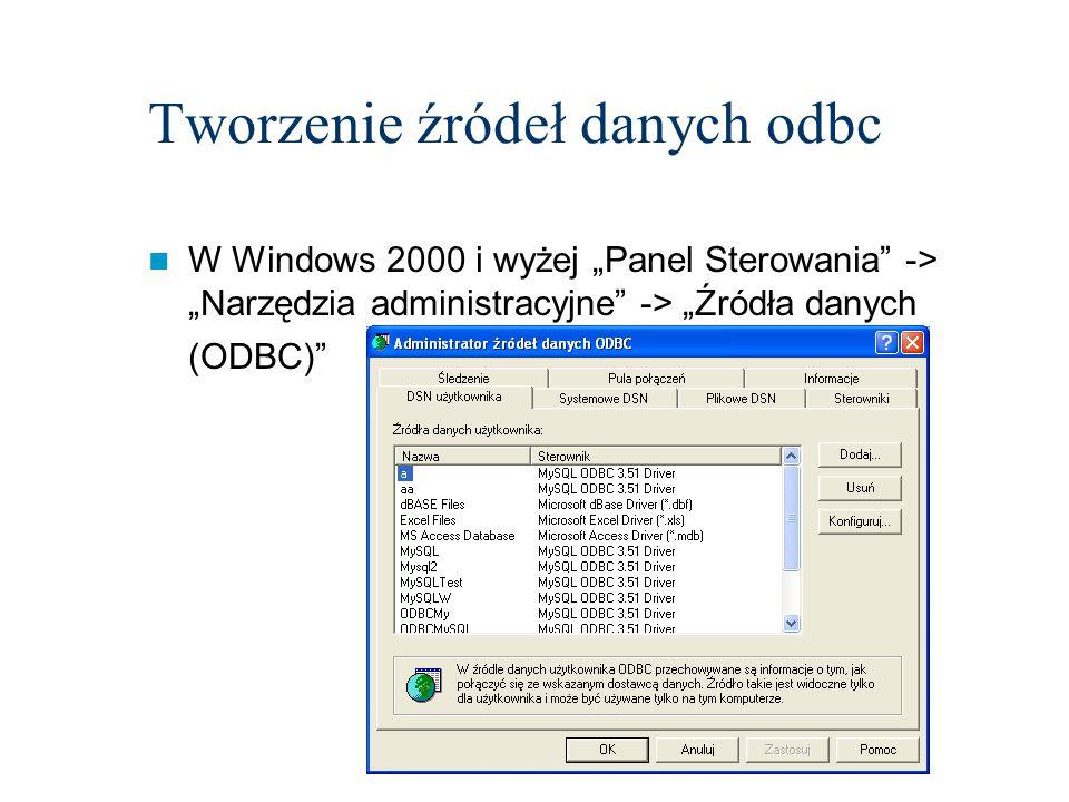 Tworzenie źródeł danych odbc DSN użytkownika są dostępne tylko dla zalogowanego użytkownika DSN systemowe są widoczne dla wszystkich użytkowników komputera DSN plikowe może być użytkowany przez wszystkich, którzy mają odpowiedni sterownik