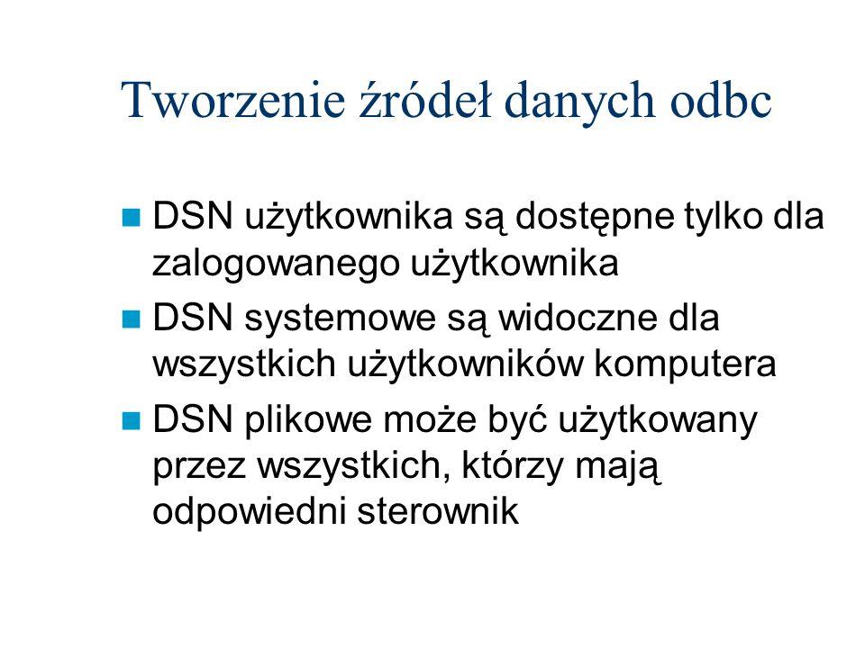 Tworzenie źródeł danych odbc DSN użytkownika są dostępne tylko dla zalogowanego użytkownika DSN systemowe są widoczne dla wszystkich użytkowników komp