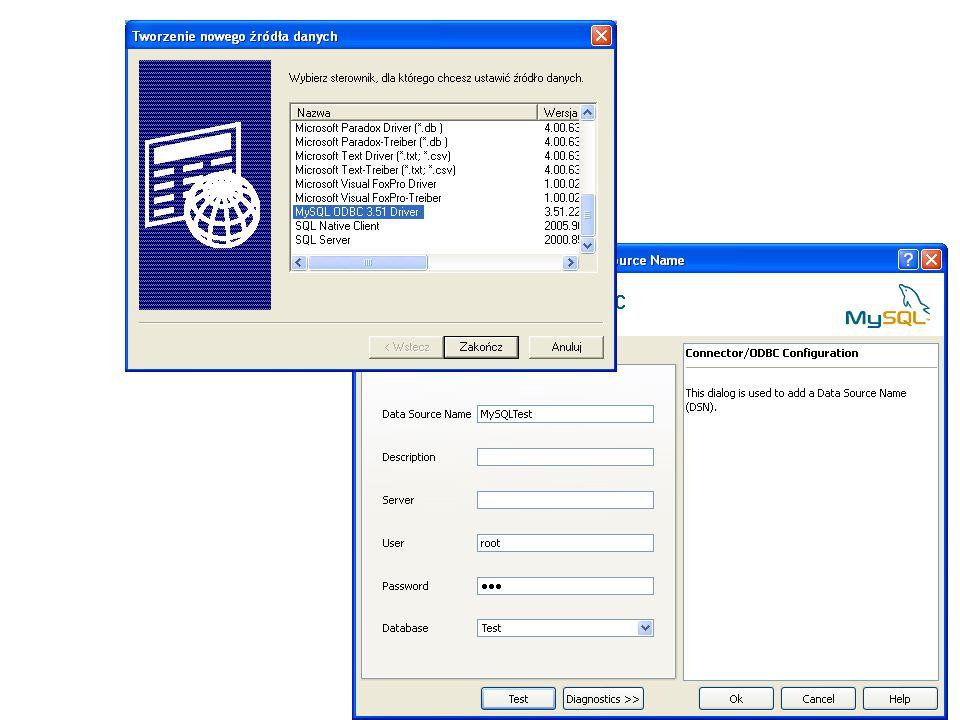Programowe ustanawianie połączenia SQL – windows authentication nazwa serwera na komputerze SqlConnection PolaczenieSql = new SqlConnection(); PolaczenieSql.ConnectionString = Data Source=stacjonarny\\sqlexpress;Initial Catalog=Test;Integrated Security=True ; try { PolaczenieSql.Open(); MessageBox.Show( Połączenie otwarte ); } catch { MessageBox.Show( Problemy z otwarciem połączenia ); }