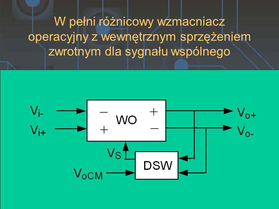 W pełni różnicowy wzmacniacz operacyjny z wewnętrznym sprzężeniem zwrotnym dla sygnału wspólnego