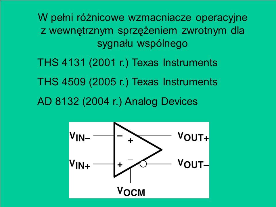 W pełni różnicowe wzmacniacze operacyjne z wewnętrznym sprzężeniem zwrotnym dla sygnału wspólnego THS 4131 (2001 r.) Texas Instruments THS 4509 (2005 r.) Texas Instruments AD 8132 (2004 r.) Analog Devices