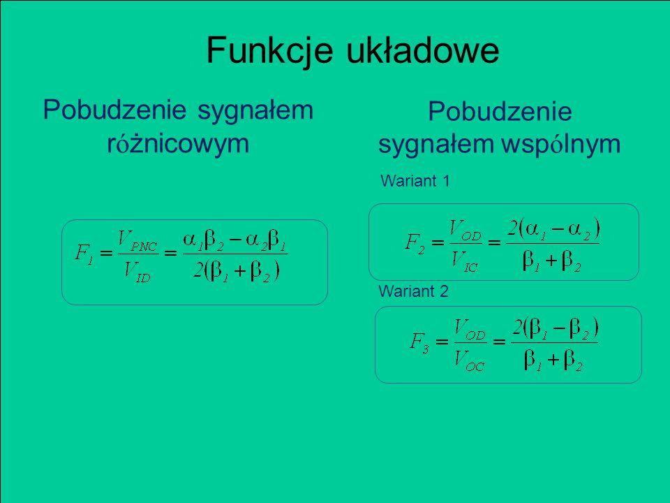 Funkcje układowe Pobudzenie sygnałem r ó żnicowym Pobudzenie sygnałem wsp ó lnym Wariant 1 Wariant 2
