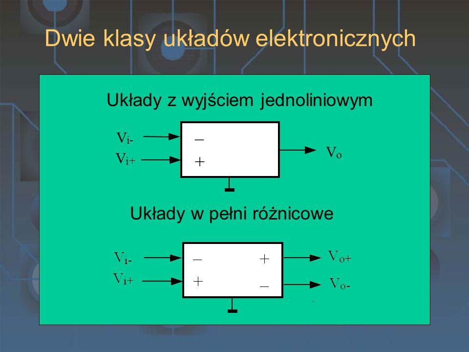 Dwie klasy układów elektronicznych V o V i+ V i- + _ Układy z wyjściem jednoliniowym Układy w pełni różnicowe