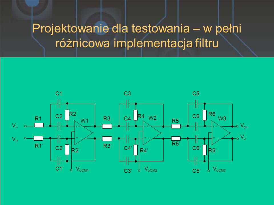 Projektowanie dla testowania – w pełni różnicowa implementacja filtru R3 R3' C1 C1' -+ -+ R1 R1' R2 R2' C2' C2 W1 -+ -+ -+ -+ R4 R4' R5 R5' R6 R6' C3 C3' C4 C4' C5 C5' C6 C6' W2 W3 V i- V i+ V o+ V o- V oCM1 V oCM2 V oCM3