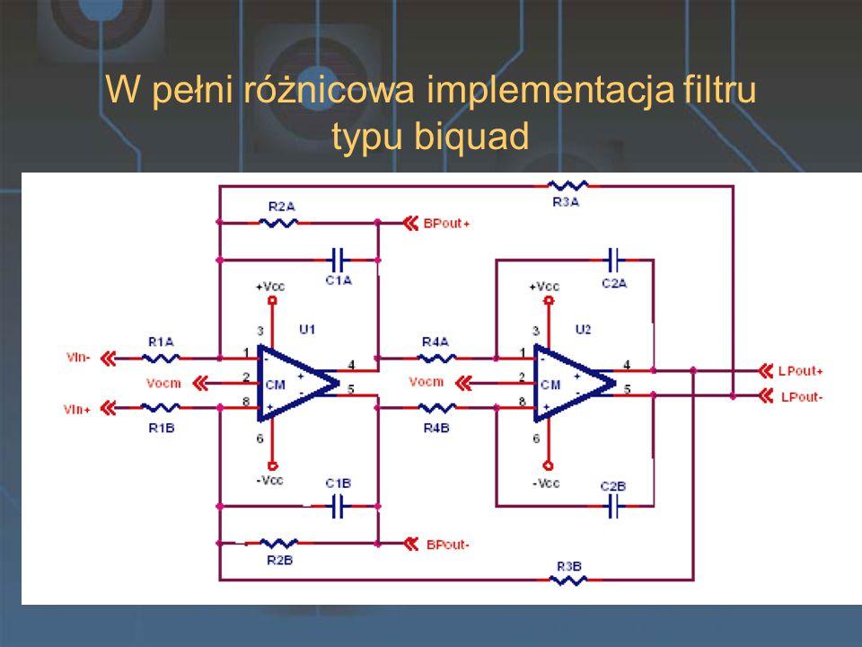 W pełni różnicowa implementacja filtru typu biquad