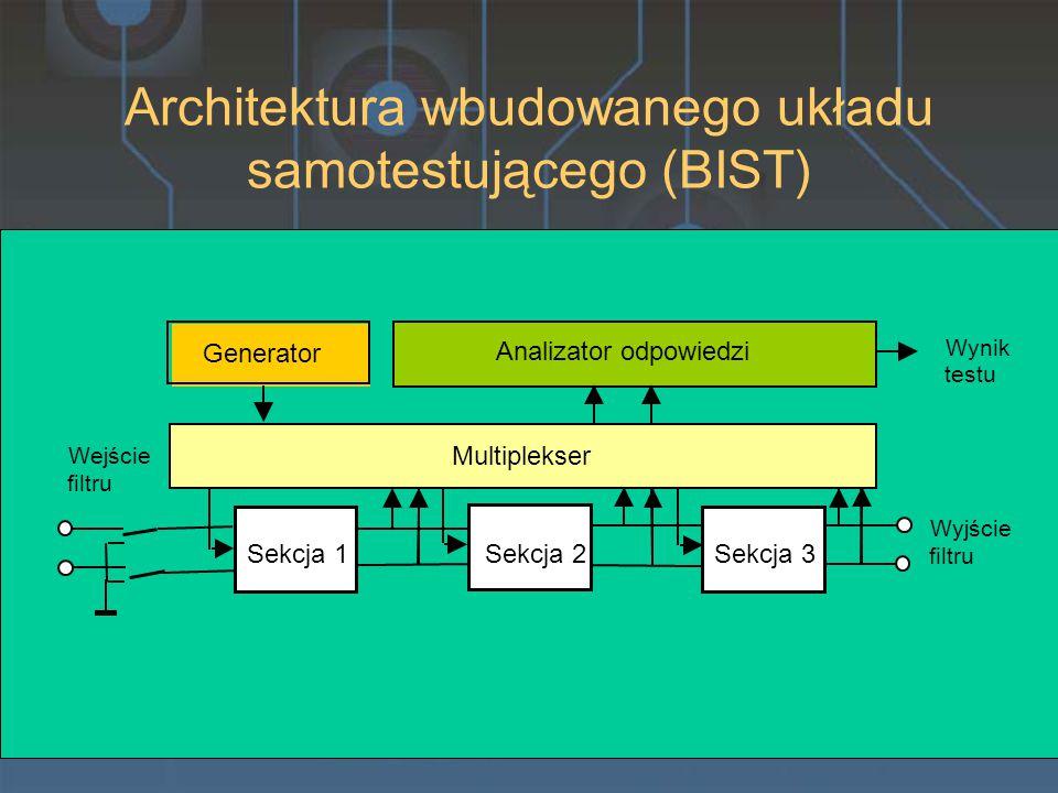 Architektura wbudowanego układu samotestującego (BIST) Sekcja 1 Sekcja 2 Sekcja 3 Multiplekser Analizator odpowiedzi Wynik testu Wejście filtru Wyjście filtru Generator