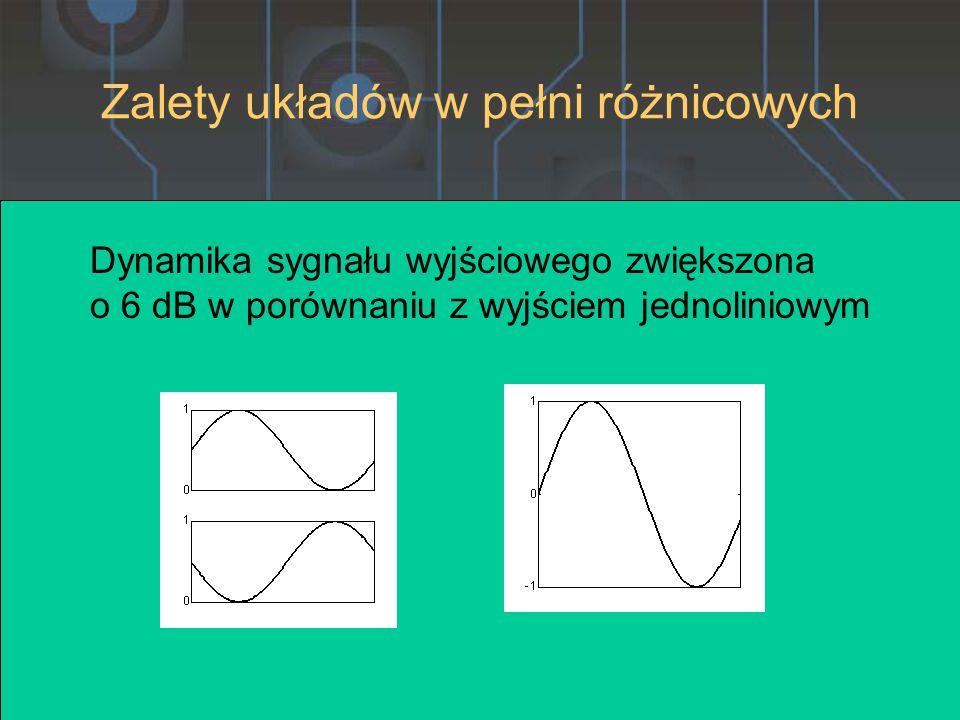 Dynamika sygnału wyjściowego zwiększona o 6 dB w porównaniu z wyjściem jednoliniowym