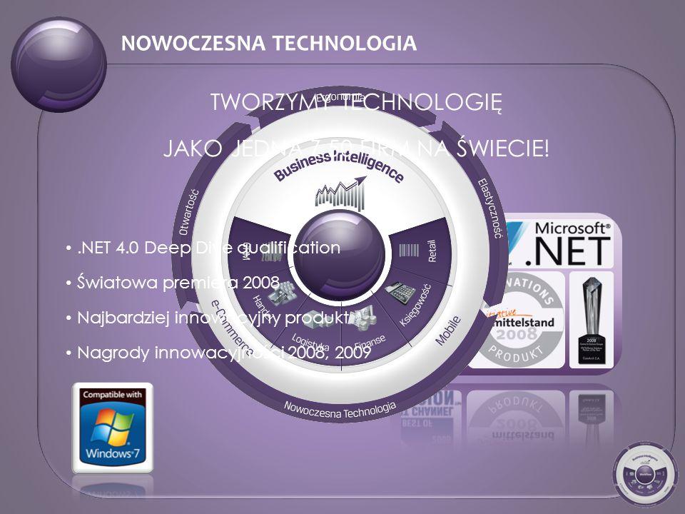 NOWOCZESNA TECHNOLOGIA.NET 4.0 Deep Dive qualification Światowa premiera 2008 Najbardziej innowacyjny produkt Nagrody innowacyjności 2008, 2009 TWORZYMY TECHNOLOGIĘ JAKO JEDNA Z 50 FIRM NA ŚWIECIE!