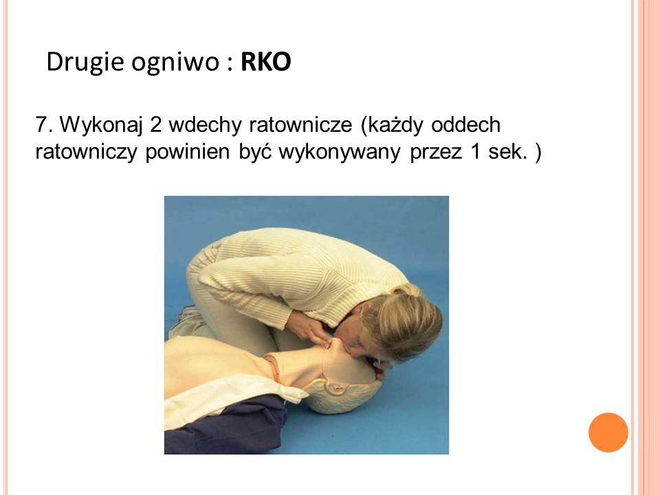7. Wykonaj 2 wdechy ratownicze (każdy oddech ratowniczy powinien być wykonywany przez 1 sek. ) Drugie ogniwo : RKO
