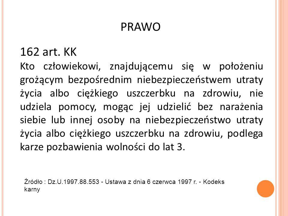 PRAWO 162 art. KK Kto człowiekowi, znajdującemu się w położeniu grożącym bezpośrednim niebezpieczeństwem utraty życia albo ciężkiego uszczerbku na zdr
