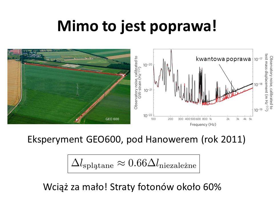 Mimo to jest poprawa! Eksperyment GEO600, pod Hanowerem (rok 2011) Wciąż za mało! Straty fotonów około 60% kwantowa poprawa