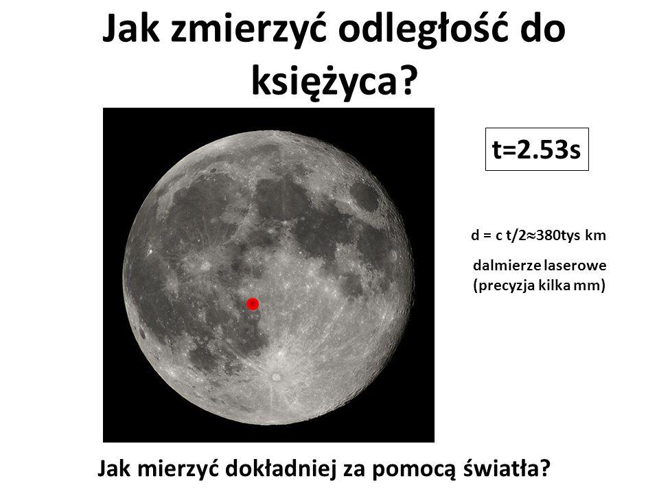 Jak zmierzyć odległość do księżyca? t=2.53s dalmierze laserowe (precyzja kilka mm) Jak mierzyć dokładniej za pomocą światła? d = c t/2  380tys km