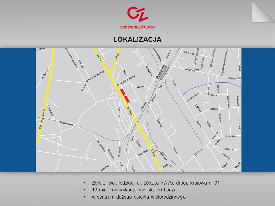 LOKALIZACJA Zgierz, woj.łódzkie; ul. Łódzka 77/79, droga krajowa nr 91 10 min.