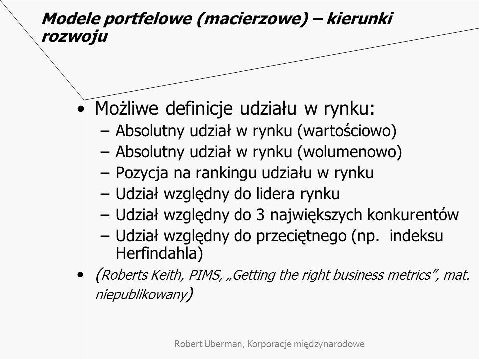 Modele portfelowe (macierzowe) – kierunki rozwoju Możliwe definicje udziału w rynku: –Absolutny udział w rynku (wartościowo) –Absolutny udział w rynku (wolumenowo) –Pozycja na rankingu udziału w rynku –Udział względny do lidera rynku –Udział względny do 3 największych konkurentów –Udział względny do przeciętnego (np.