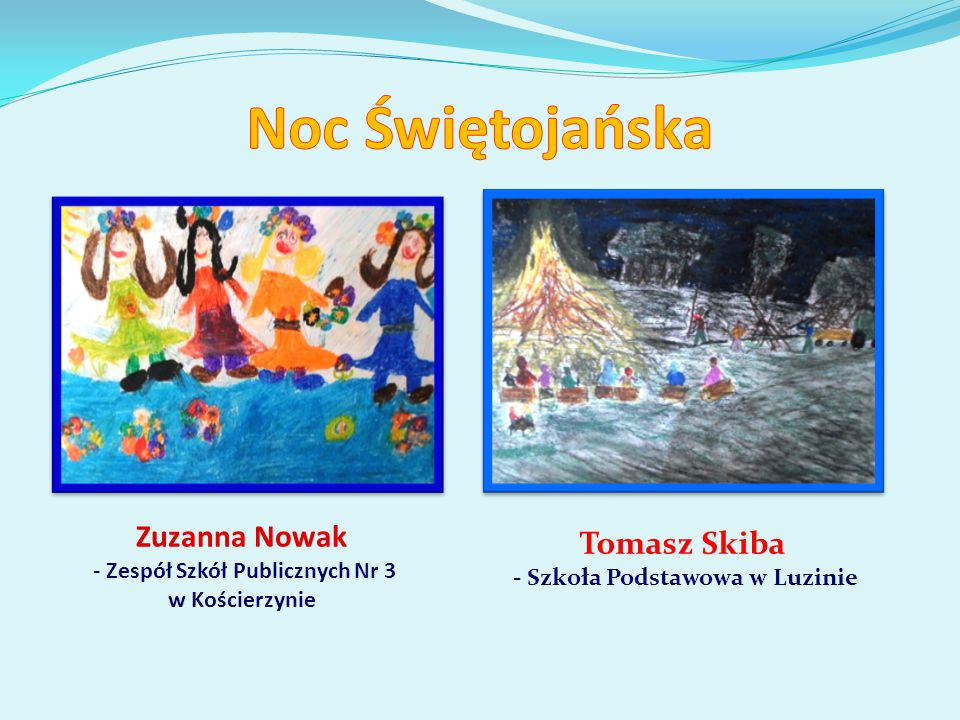 Zuzanna Nowak - Zespół Szkół Publicznych Nr 3 w Kościerzynie Tomasz Skiba - Szkoła Podstawowa w Luzinie