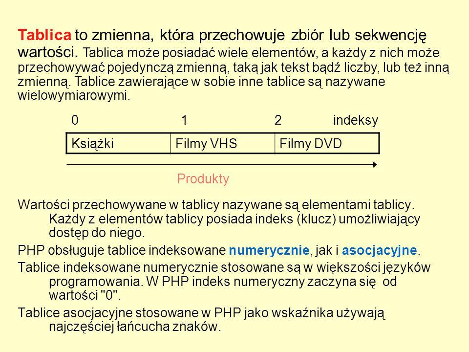 Wartości przechowywane w tablicy nazywane są elementami tablicy. Każdy z elementów tablicy posiada indeks (klucz) umożliwiający dostęp do niego. PHP o