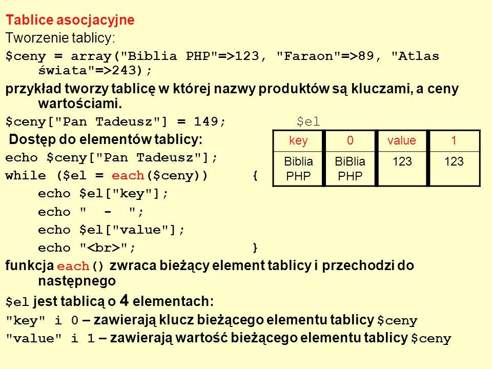 Tablice asocjacyjne Tworzenie tablicy: $ceny = array(
