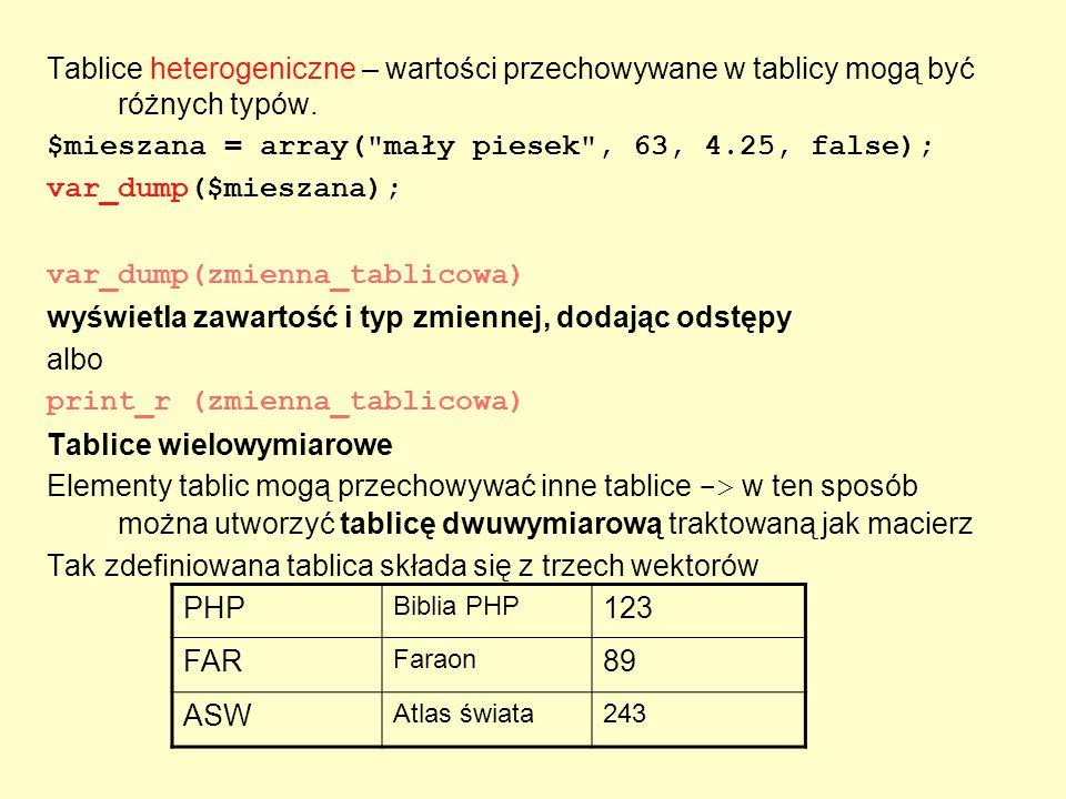 Tablice heterogeniczne – wartości przechowywane w tablicy mogą być różnych typów. $mieszana = array(