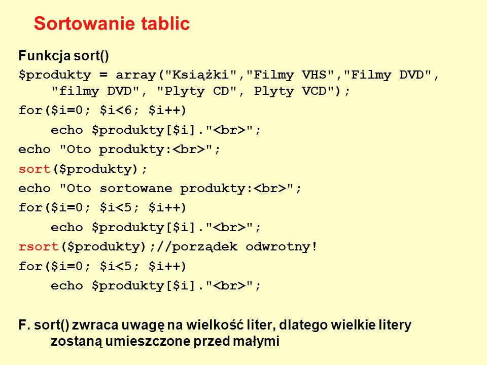 Funkcja sort() $produkty = array(