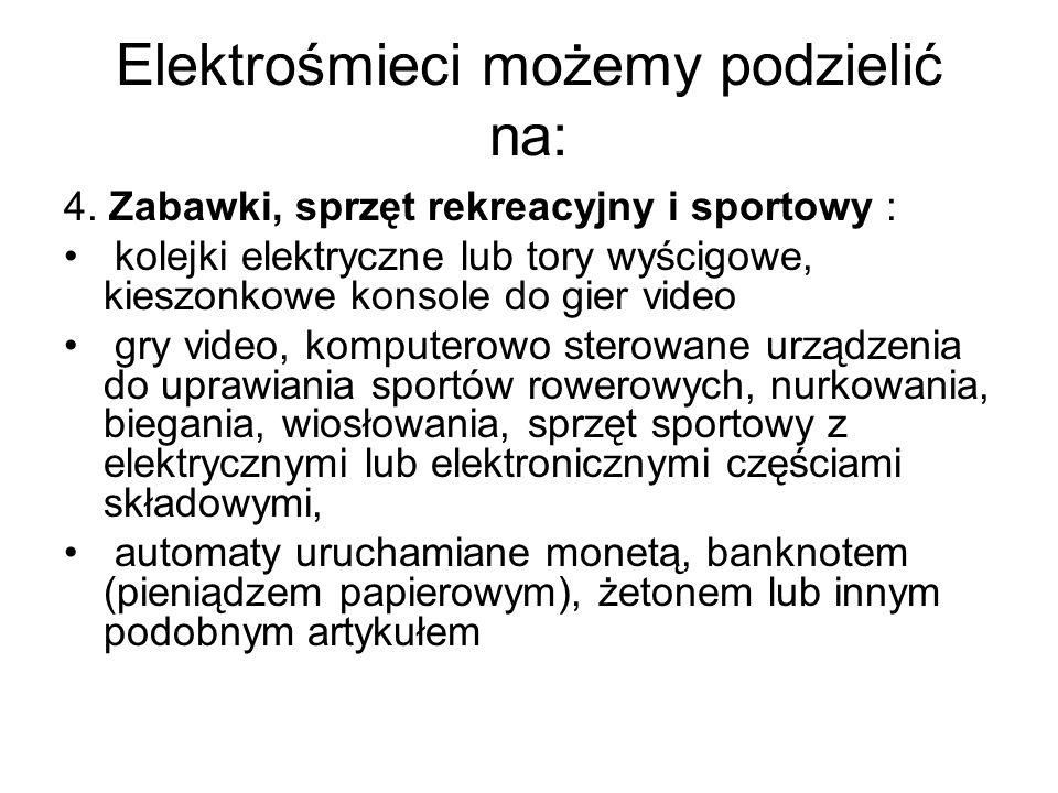 Elektrośmieci możemy podzielić na: 4. Zabawki, sprzęt rekreacyjny i sportowy : kolejki elektryczne lub tory wyścigowe, kieszonkowe konsole do gier vid