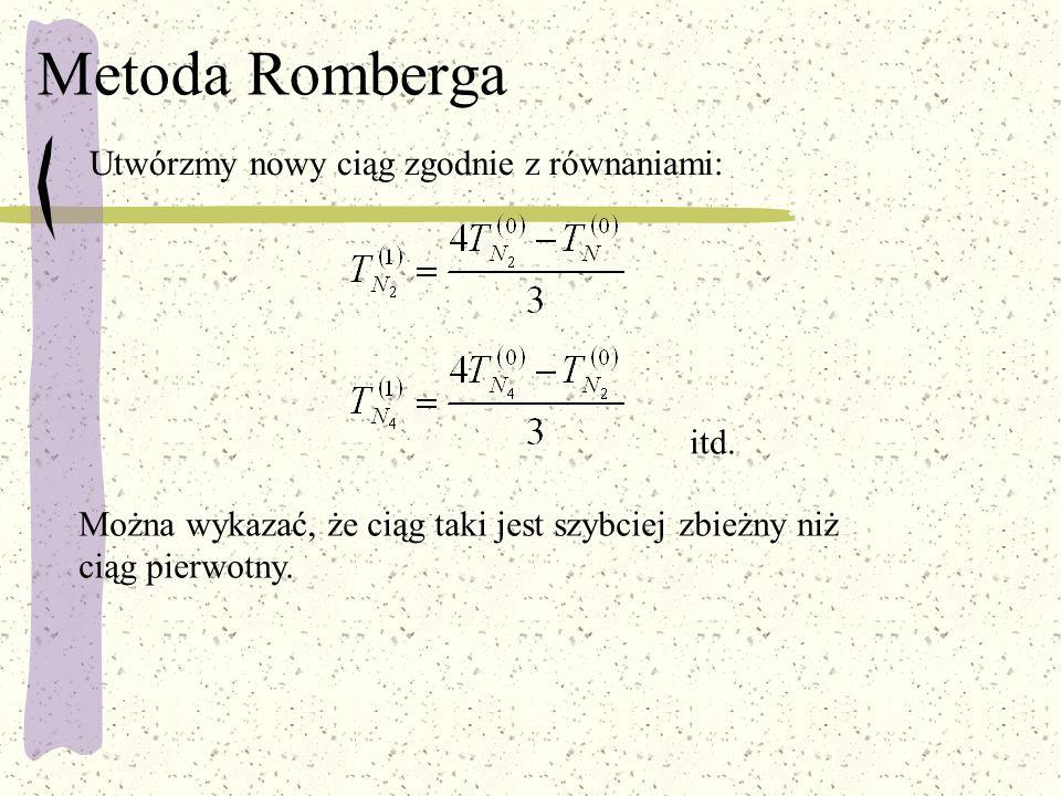 Metoda Romberga Utwórzmy nowy ciąg zgodnie z równaniami: itd. Można wykazać, że ciąg taki jest szybciej zbieżny niż ciąg pierwotny.