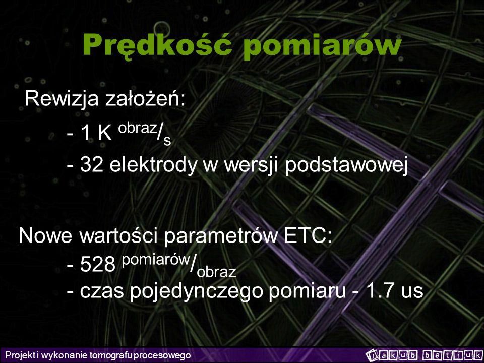 Projekt i wykonanie tomografu procesowego Prędkość pomiarów Rewizja założeń: - 1 K obraz / s - 32 elektrody w wersji podstawowej Nowe wartości paramet