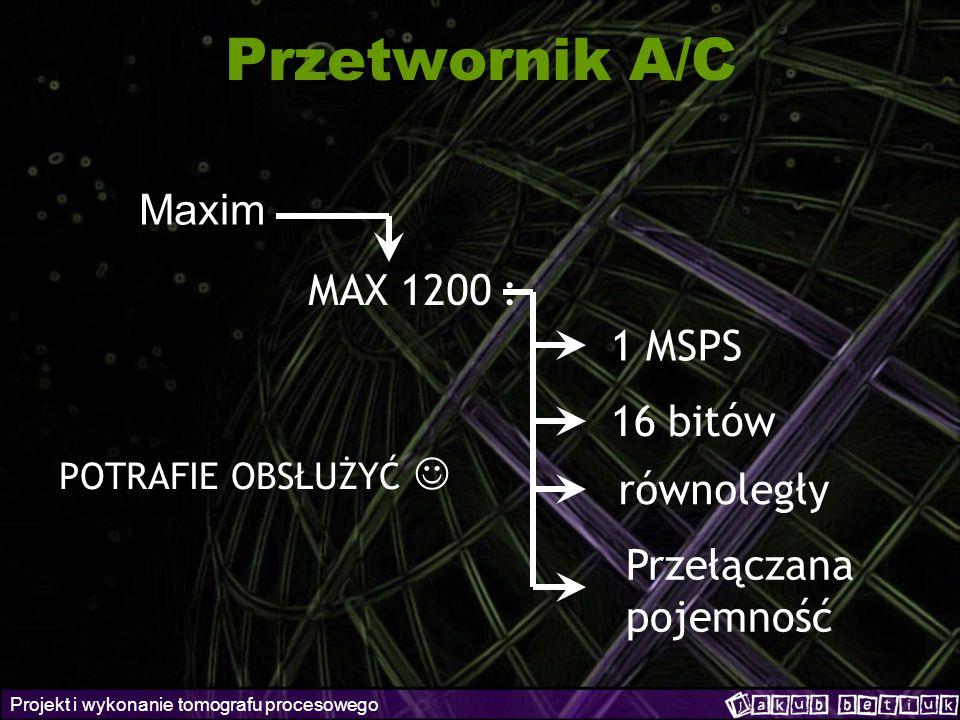 Projekt i wykonanie tomografu procesowego Przetwornik A/C Maxim MAX 1200 : 1 MSPS 16 bitów równoległy Przełączana pojemność POTRAFIE OBSŁUŻYĆ